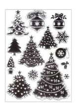 14 CHRISTMAS TREE CLEAR RUBBER STAMPS-XMAS SNOWFLAKE-BAUBLE DECORATION STAMP
