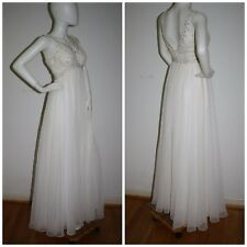 "Vintage 1960s Evening Dress Mike Benet Grecian Goddess Wedding Gown S 35""B 25""W"