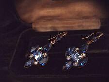 Vintage Jewellery Montana Blue & Sapphire Crystal Rhinestone Hook Earrings