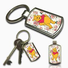 WINNIE THE POOH FLORAL Keyring Custom Photo Gift Key Fob Metal Charm
