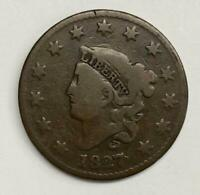 1827 Coronet Head Large Cent 1¢ Fine