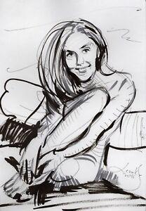 Original Nude Erotik Figure Drawing Picture(30x21)cm1128 DE  act erotic