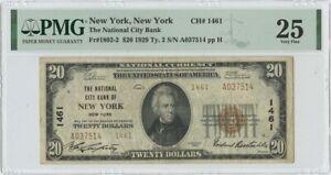 1929  $20 TY2 National City Bank NY NY CH# 1461 PMG 25 VF