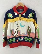 Vintage 1989 Berek Hand Knitted Southwest Desert Motif Sweater Sz Medium