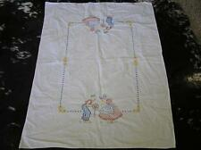 """Vintage Embroidered Dutch Boy & Girl Table Cloth Tablecloth Runner 32"""" x 42"""""""