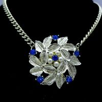 Vintage Necklace 1940's-50's Silver Blue Cut Crystals 15 1/2""