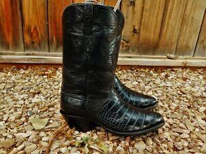 BLACK JACK COWBOY BOOTS 12 W AMERICAN ALLIGATOR BELLY #188 $2600 Lone Star Inlay