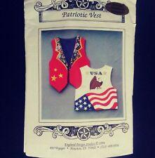 Sewing Pattern Patriotic Vest Iron on Transfer England Design Studios 1994 Vtg