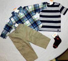 Pant Outfit Gymboree 5pc Khaki Flannel Plaid Shirt Tee Boy size 12/18 mo New