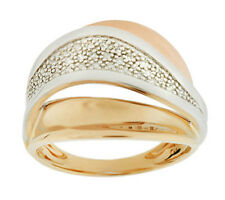 QVC Polished Tri-Color 14K Gold 1/10 cttw Diamond Ring Size 5 $496