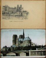 Notre Dame Cathedral - Paris, France PAIR 1903 Postcards - Group 1