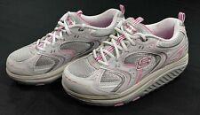 Skechers Shape Ups Athletic Walking Shoes Womens 10 Metallic White Pink 12350