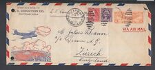 USA 1938 SS QUEEN MARY SHIP COVER CHICAGO TO ZURICH SWITZERLAND