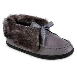 NEW Women's isotoner Microsuede Nelly Moccasin Bootie Slippers GRAY LG 8.5-9