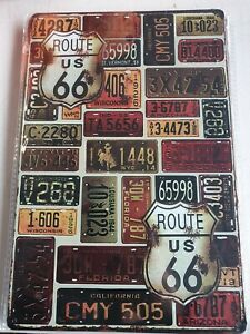 ROUTE US 66 Metal Tin Sign Vintage Retro Shed Garage Bar Man Cave Wall Plaque #2