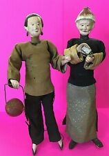 Antique Vintage Asian Chinese China Doll Pair Man & Lady Silk Clothes Chalkware