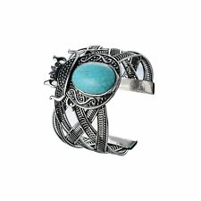 Faux Turquoise BOHO Silver Tone Adjustable Cuff Bracelet, By JADA Collections