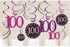 12 x 100th Compleanno Appeso Turbinii NERO E ROSA FESTA PARTY DECORAZIONI Età 100