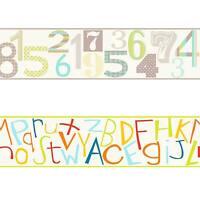 Kinderzimmer Borduere Kinder Borte Papier oekoborduere ABC Zahlen Bunt Gruen Rot