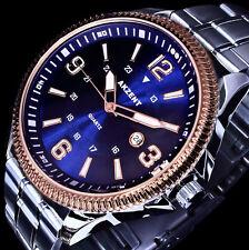 Akzent Herren Armband Uhr Blau Rose Silber Farben Datum Edelstahlarmband 2