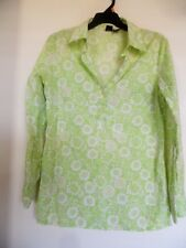 Mossimo  Green Floral Top - Shirt Blouse Sz M