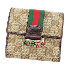 Gucci Wallet Purse Trifold GG Brown Beige Woman unisex Authentic Used P646