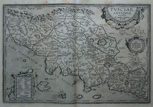 TOSCANA ORTELIUS 1624 ETRURIA Antica Carta Geografica Originale ISCHIA FIRENZE