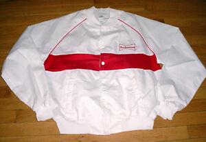 Vintage Budweiser Beer Racing Jacket White/Red Logos Made In USA Large NASCAR