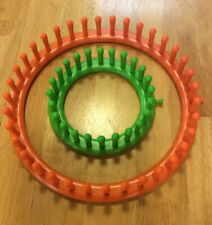 "Knitting Looms Round 5"" Green 9"" Orange Makes Knitted Hats Scarves Pot Holders"