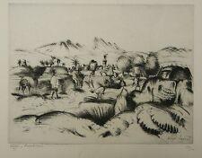 Rame su carta Incisione Paesaggio Orientalista Africa HENRI ORLO-SARRAT 1927