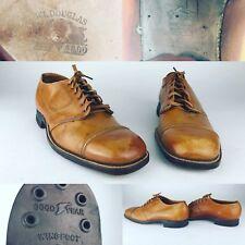Rare Vtg WL Douglas 1940s Light Brown Bench Cap Toe Dress Shoes Mens 9 See Info