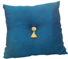 Turquoise blue and black large deep filled cushion with Gold tassel