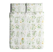 IKEA duvet cover pillowcase set FULL/QUEEN floral white cotton STRANDKRYPA NWOT
