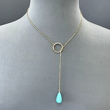 Bohemian Style Gold Thin Chain Turquoise Stone Ring Pendant Simple Necklace