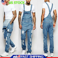 Men's Casual Long Pants Denim Jumpsuit Jeans Overalls Dungarees Straps Trouser