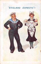 POSTCARD  COMIC   ENGLAND  EXPECTS   Navy  Babies