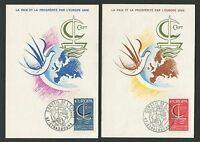 "FRANCE MK 1966 EUROPA CEPT ""STRASBOURG"" 2 MAXIMUMKARTEN MAXIMUM CARD MC CM c9505"