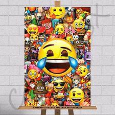 Emoji Emojis Framed Canvas Print Picture Poster A3 18x12 Kids Bedroom Wall Art