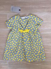 DREAM 0-18  months BABY GIRL TRADITIONAL WHITE AND LEMON FRILLYNETTED SPOT DRESS