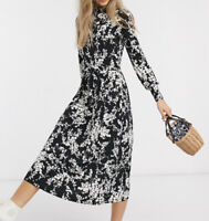 Oasis women floral print midi summer dress black Size uk12 Rrp£50