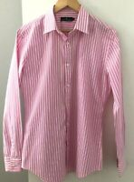 Jack London Men's size M Shirt Pink White Stripe Long Sleeves Collar Cotton