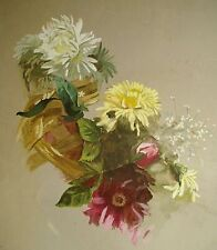 Dessin peinture nature morte originale bouquet de fleurs aquarelle sur papier