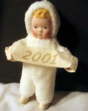 Christmas 2001 New Year Ornament Pixie Fairy White Elf Snow Baby Angel Ceramic