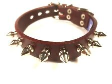 Cherry Genuine Leather Spike Small dog Collar spiked Maltese puppy RATS BUM