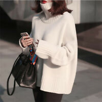 New Cashmere Thick Long Sleeve Turtleneck Pullovers Loose Sweater For Women