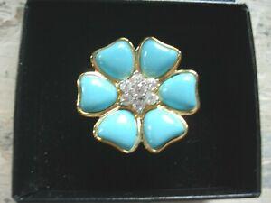 Technibond Turquoise Flower Rhinestones Ring 14K Yellow Gold Clad Silver