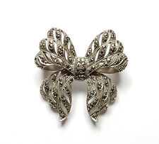 Marcasite Set Bow Brooch 12.3g Vintage Stamped 925 Sterling Silver Large