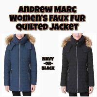 ANDREW MARC Women's Faux Fur Hood Quilted Jacket - VARIETY - FAST/FREE SHIPPING
