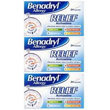Benadryl Allergy Relief 24 Capsules - Fast-Acting Antihistamine 1 , 2 or 3 Packs