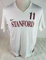 Nike Fit Team Mens Jersey Large Standard #11 White Red Athletic V Neck Soccer